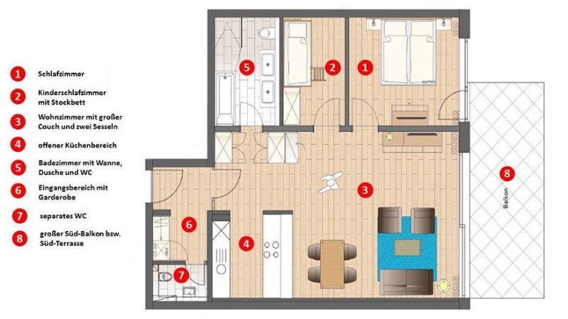 Grundriss Appartement Terrasse o Balkon